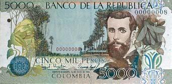 Billete de 5000 pesos colombianos