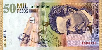 Billete de 50000 pesos colombianos