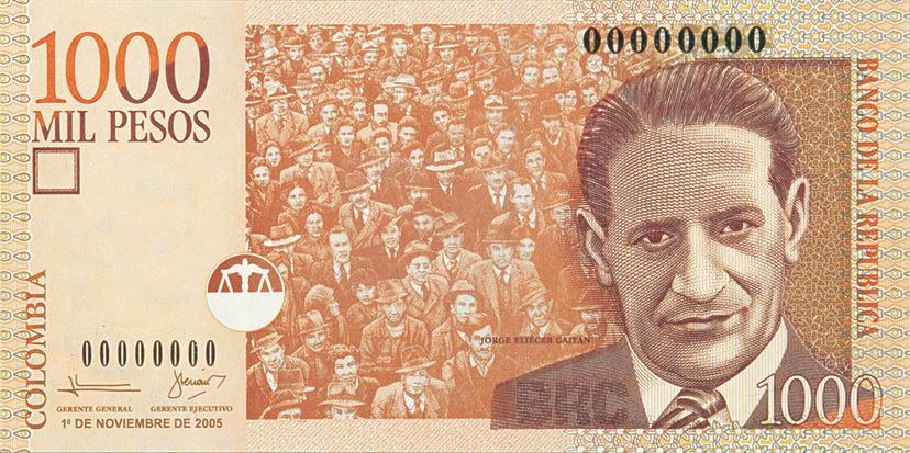billete de 1000 pesos colombianos
