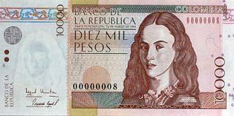 billete de 10000 pesos colombianos