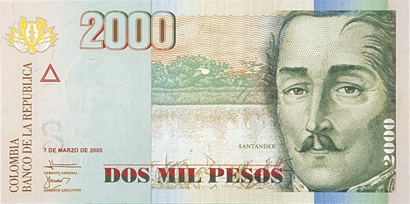 billete de 2000 pesos colombianos