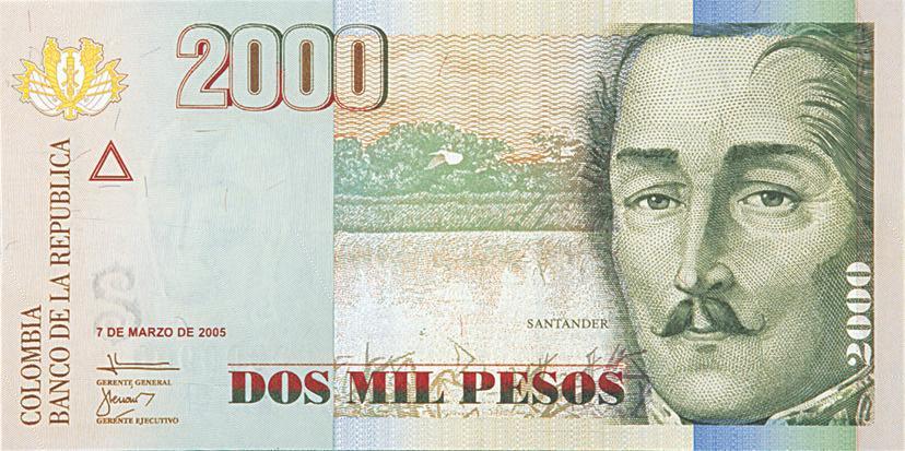 billete de 2000 pesos colombianos