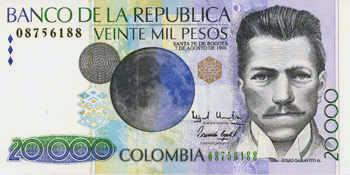 billete de 20000 pesos colombianos