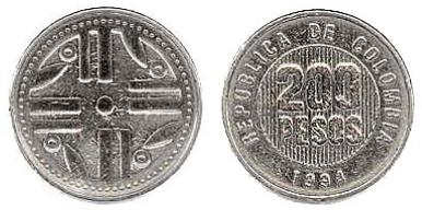 moneda 200 pesos colombia